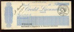 CHEQUE - BANQUE CREDIT LYONNAIS (PARIS) - FORMAT 18 X 7 CM - Cheques & Traveler's Cheques