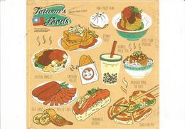 Taïwan Foods: Pan-fried Bun,Stinky Tofu,Egg Cake,Oyster Omelet,Bubble Milk Tea,etc. Postcard Addressed ANDORRA - Formosa