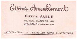 "T A/Buvard Tissu Ameublement ""Pierre Sallé Orléans  (Format 21 X 11) (N= 1) - Textile & Clothing"