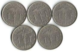 Lot  5 Pièces De Monnaie  1 Franc NLD - 1909-1934: Alberto I