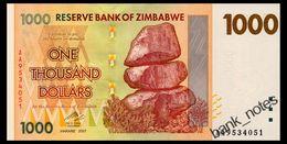 ZIMBABWE 1000 DOLLARS 2007 Pick 71 Unc - Simbabwe