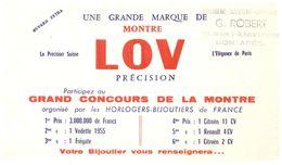 H M L/Buvard Horlogerie Montre Lov (N= 2) - Buvards, Protège-cahiers Illustrés
