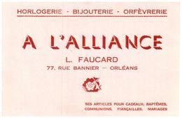 B M A/Buvard Horlogerie Montre L'Alliance (N= 1) - Buvards, Protège-cahiers Illustrés