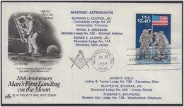 Man's First Landing On Moon Masonic Astronaut  Freemasonry Masonic Cover USA - Franc-Maçonnerie