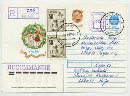 LATVIA 1992 293 + 7 K. Uprated Postal Stationery Envelope. Used   Michel U14 - Latvia