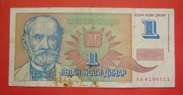 YUGOSLAVIA 1 NOVI DINAR 1994, RARE, Pick 145 (6) - Yougoslavie