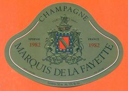 étiquette De Champagne Brut 1982 Marquis De La Fayette à Epernay - 75 Cl - - Champagne