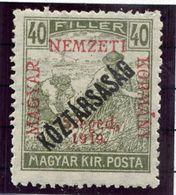 HUNGARY (SZEGED) 1919 Harvesters 40 F. Overprinted Köztarsasag MNH / **.  Michel 34 - Szeged