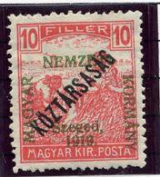 HUNGARY (SZEGED) 1919 Harvesters 10 F. Overprinted Köztarsasag LHM / *.  Michel 31 - Szeged