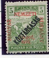 HUNGARY (SZEGED) 1919 Harvesters 5 F. Overprinted Köztarsasag LHM / *.  Michel 29 - Szeged