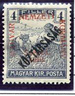 HUNGARY (SZEGED) 1919 Harvesters 4 F. Overprinted Köztarsasag LHM / *.  Michel 28 - Szeged