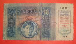 SERBIA - AUSTRIA I W.W. 10 KRONEN WITH SEAL  ND 1917 - 1919 - Serbia