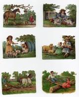 CHROMO Gaufrée Découpis Enfants Animaux Lapins Cheval Moutons Chien Chiots Chevaux Labourage Jeu Balançoire (6 Chromos) - Children