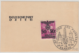 Generalgouvernement Fuhrer's Birthay 1940 Krakau Special Postmark On Card B180410 - Sonstige