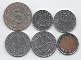 Bolivie : Lot De 5 Pièces 1976-2004 (Republica) Et De 1 Pièces 2010 (Estado Plurinacional) - Bolivia