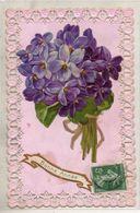 """Carte """"dentelle"""". Bouquet De Violettes - Flowers"""