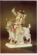 MEISSEN PORZELLAN MANUFAKTUR AK SCHNEIDER AUF ZIEGENBOCK FARBIGE STAFFAGE - Cartes Porcelaine