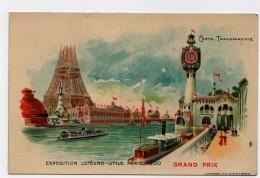 CPA LU Goossens Exposition Lefèvre-Utile Paris 1900 Tour Eiffel Bateau Mouche Grand Prix Carte Transparente Précurseur - Publicité