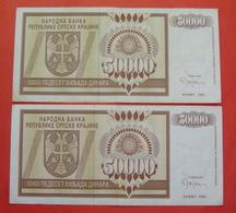 REPUBLIKA SRPSKA KRAJINA 2 X 50000 DINARA 1993, KNIN Pick R8 - Croatie
