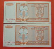 REPUBLIKA SRPSKA KRAJINA 2 X 1000000000 DINARA 1993, KNIN Pick R17 - Croatie