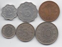 Malte : Lot De 6 Pièces 1972-1977 - Malta