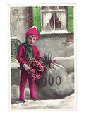 Cpa - Bonne Année - Enfant BONNET Hiver Neige Sac De Monnaie Bouquet De Roses - ABC 2521  - 1934 - Monnaies (représentations)