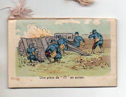 Calendrier De Poche 1916, Pièce De 75 En Action 6 X 9,3 Cm - Petit Format : 1901-20