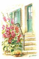 CP Aquarelle Escalier, Fleurs - D. Lebeau - Peintures & Tableaux