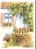 CP Aquarelle Puits, Fleurs - D. Lebeau - Peintures & Tableaux