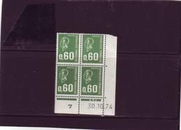 N° 1814 - 0,60F BEQUET -1PHO - G De G+H - 1° Tirage Du 25.9.74 Au 15.11.74 - 30.10.1974 - - Ecken (Datum)