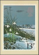 British Flowers, 13p, Snowdrops, 1979 - Royal Mail Stamp Card PHQ 34d - Stamps (pictures)
