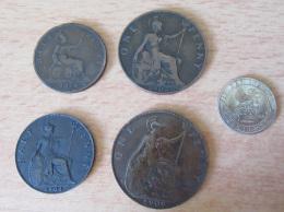 Grande-Bretagne / Royaume-Uni / Angleterre - 5 Monnaies 1878 à 1924 Dont Une En Argent (six Pence) - Grande-Bretagne