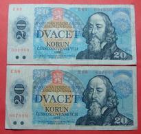 CZECHOSLOVAKIA 2 X 20 KORUN 1988 - Tchécoslovaquie