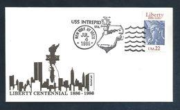 STATUE DE LA LIBERTE DE BARTHOLDI -  USA OBLITERATION DU NAVIRE PORTE AVION USS INTREPID 1986 - Monuments
