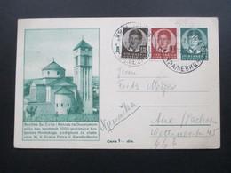Jugoslawien 1937 / 39 Ganzsache P 79 Mit 2 Zusatzfrankaturen! 1000 Jahr Feier! Gesendet Nach Aue In Sachsen - 1931-1941 Kingdom Of Yugoslavia