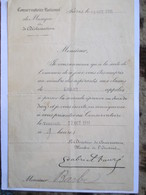 Document Du Conservatoire National De Musique De Paris - 1911 - Avec  Signature Autographe Pré-imprimé De Gabriel Fauré - Unclassified