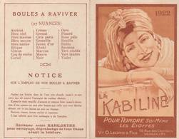 """CALENDRIER ANNÉE 1922 """"LA KABILINE"""" TEINDRE LES ÉTOFFES (10.5X6.5 Cm) - Calendars"""