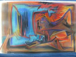 Pastel Original Signé Pierre Magnin - La Rencontre - 76 X 50 Cm - Pastelli