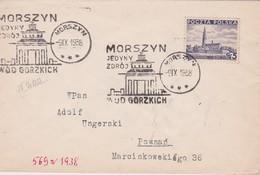 POLOGNE 1938 LETTRE DE MORSZYN  OBL. CURE  EAU AMERE - 1919-1939 Republic