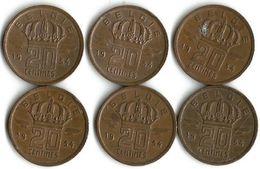 Lot De 6 Pièces De Monnaie 20 Centimes 1954  NDL - 01. 20 Centimes