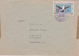 SUISSE 1939 LETTRE AVEC VIGNETTE PIGEON VOYAAGEUR ET CACHET  FUSILIER K.P. - Soldaten Briefmarken