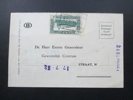 Belgien 1949 / 52 Eisenbahnpaketmarke Nr. 282 EF Karte. - Railway