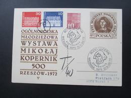 Polen 1973 Ganzsache Mit Sonderstempel Kopernikus Nach Basel Gesendet Und Mit Nachporto Belegt! T-Stempel T / 40 - Briefe U. Dokumente