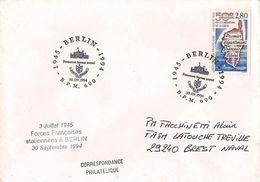 MARCOPHILIE NAVALE FORCES FRANCAISES A BERLIN FERMETURE BUREAU POSTAL 30 SEPTEMBRE 1994 - Marcophilie (Lettres)