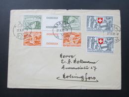 Schweiz 1949 / 52 Zuasammendrucke KZ 17 Und 18 Auf Einem Brief Nach Finnland Helsingfors - Briefe U. Dokumente