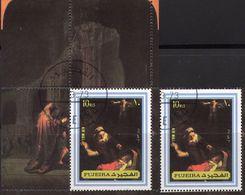Gemälde Rembrandt 1972 Fudscheira 1370+Block 139 O 5€ Kunst Heilige Familie Hb Bloc Christmas Sheet Art Bf Painting - Fujeira