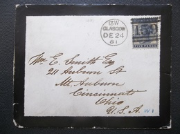 Great Britain: 1881 Five Pence Cover To Cincinnati, Ohio, USA (#EC9) - 1840-1901 (Victoria)
