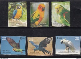 INDIA, 2016, Exotic Birds, 6 V Complete Set, Macaw, Conure, Parrot, Amzon, Crested, Cockatoo, MNH, (**) - India
