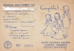 8981-AZIONE CATTOLICA ITALIANA GIOVENTU' FEMMINILE-TESSERA ANNO 1948 - Unclassified