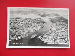 CPA CURACAO HARBOR PORT BATEAUX VUE AERIENNE - Postcards